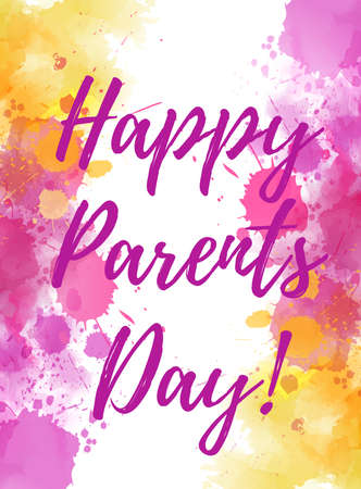 Happy Parents Day! Holiday background with abstract watercolor splashes. Template for banner, greeting card, poster, etc. Illusztráció