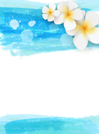 Invitation template with plumeria tropical flowers on watercolor brushed background. Blue colored. Can be used for wedding, bridal shower or baby shower invitation, greeting card, posters, etc,