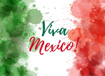 Viva Mexico background with waterccolored grunge design. Independence day concept background. Abstract watercolor splashes in mexico flag colors