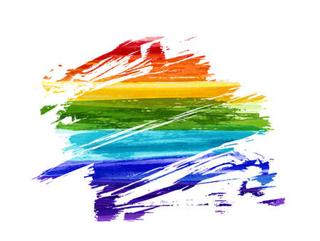 Grunge watercolor imitation lines in rainbow colors. Gay pride symbol. LGBT community background concept. Illustration