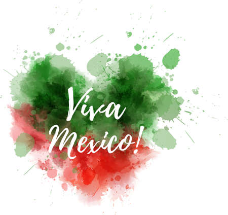 Independence day concept background. Abstract watercolor splashes in Mexico flag colors. Heart shaped watercolor blot. Viva Mexico!