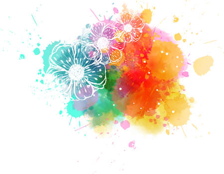 Painted stroked flowers on watercolor colorful splash background. Иллюстрация