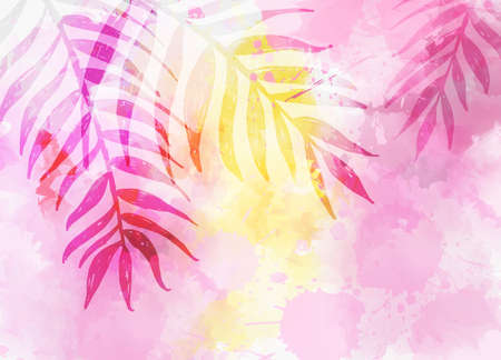Abstract trendy watercolor background with tropical palm leaves. Summer travel concept.