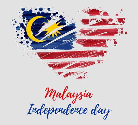 Malezja Dzień Niepodległości tło. Z malowane flaga Malezji w kształcie serca grunge. Święto Hari Merdeki. Szablon plakatu, banera, ulotki, zaproszenia itp.
