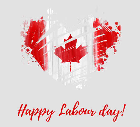 Canada Happy Labour day. Grunge watercolor Canadian flag in grunge heart shape. Background template for national holiday.