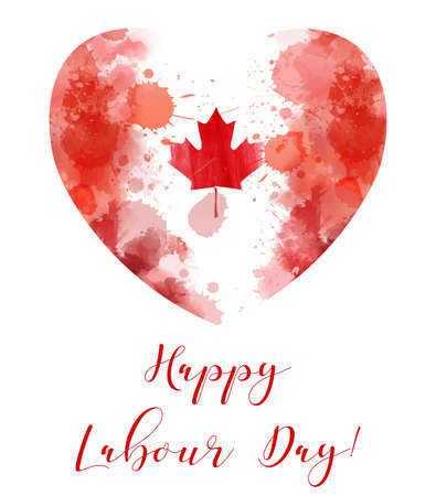 Canada Happy Labour day. Grunge watercolor Canadian flag in heart shape. Background template for national holiday.