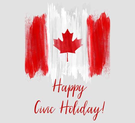 Canada Happy Civic holiday. Bandiera del Canada spazzolata grunge astratto.