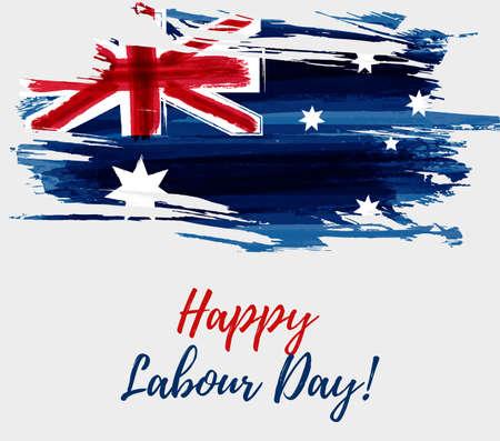 Día festivo del Día del Trabajo de Australia. Grunge acuarela abstracta cepillado bandera de Australia.