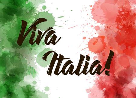 Sfondo Viva Italia con disegno grunge acquerellato. Priorità bassa di concetto di giorno di indipendenza. L'acquerello astratto schizza nei colori della bandiera dell'Italia