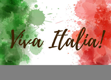 Viva Italia background with watercolored grunge design. Independence day concept background. Abstract watercolor splashes in Italy flag colors