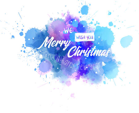 Watercolor Christmas background with We wish you a Merry Christmas and a happy New year lettering text. Illustration