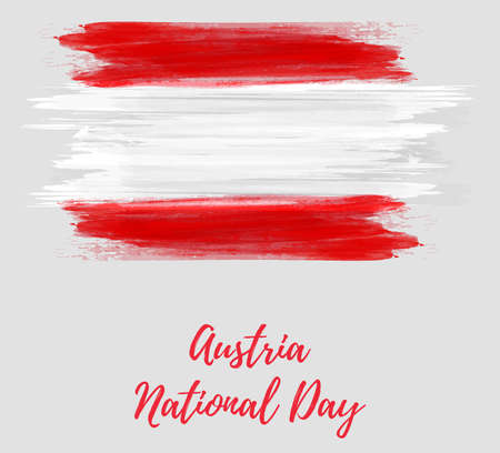 Austria National day holiday. Background with abstract watercolor brushed grunge flag of Austria. Vettoriali
