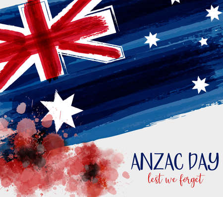 Anzac Day background with grunge watercolor Australia flag and two red poppy flowers. Remembrance symbol. Lest we forget.