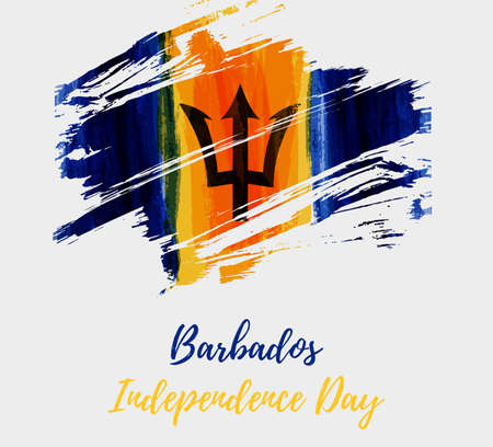 Barbados Independence day. Abstract brushed grunge flag of Barbados. Template for holiday banner, poster, invitation, etc.