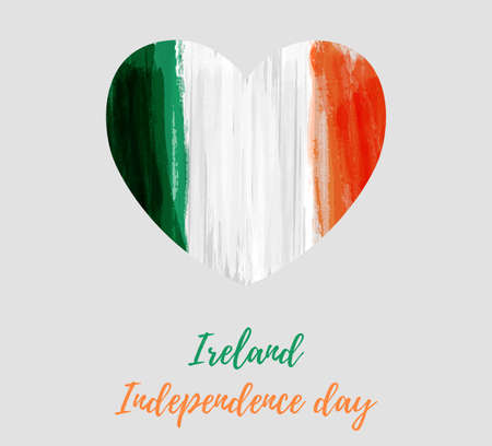 Ireland Independence day holiday background. Abstract grunge watercolored flag of Republic of Ireland in heart shape. Template for national holiday background, banner, poster, etc.