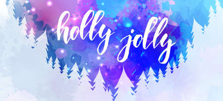 Abstract watercolor background with snowflakes and pine trees. Holly jolly - handwritten modern calligraphy lettering. Holiday banner concept. Stock fotó - 127321813