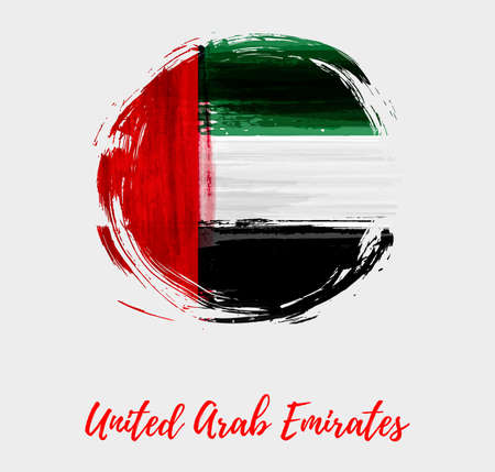 United Arab Emirates background with abstract watercolor grunge flag in round shape. Stock fotó - 127302809