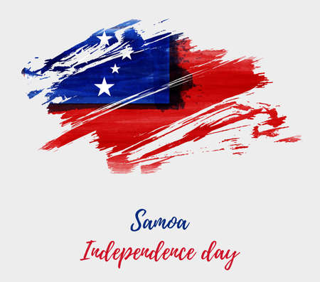 Samoa Independence Day background with abstract watercolor brushed flag of Samoa. Illusztráció