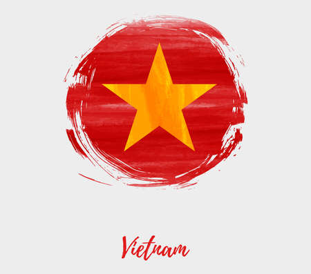 Background with abstract watercolor brushed flag of Vietnam in grunge round shape.