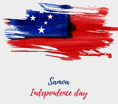 Samoa Independence Day background with abstract watercolor brushed flag of Samoa. Stock fotó - 127302814