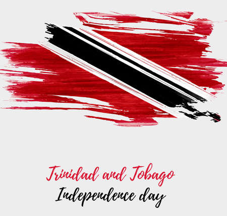 Trinidad and Tobago Independence day background with abstract watercolor grunge brushed flag.