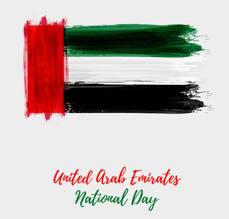 United Arab Emirates National day holiday background with abstract watercolor grunge flag.