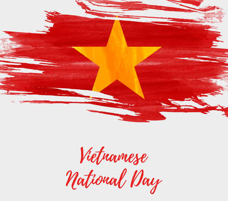 Vietnamese National Day background with abstract watercolor brushed flag of Vietnam.