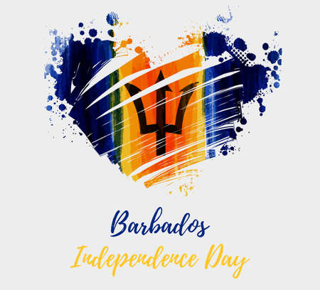 Barbados Independence day. Abstract brushed grunge flag of Barbados in heart shape. Template for holiday banner, poster, invitation, etc. Stock fotó - 127064741