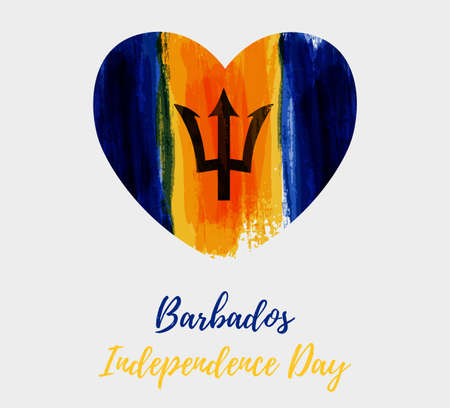 Barbados Independence day. Abstract brushed grunge flag of Barbados in heart shape. Template for holiday banner, poster, invitation, etc.
