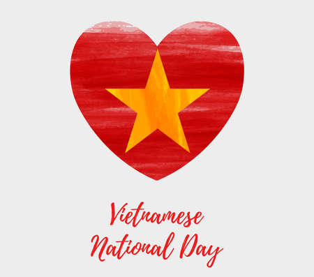 Vietnamese National Day background with abstract watercolor brushed flag of Vietnam in heart shape.