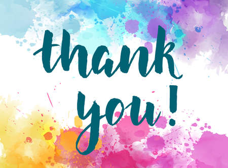 Thank you hand lettering phrase on watercolor imitation color splash background. Modern calligraphy inspirational quote. Illusztráció