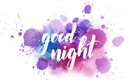 Good night - handwritten modern calligraphy lettering on dark night sky watercolor background