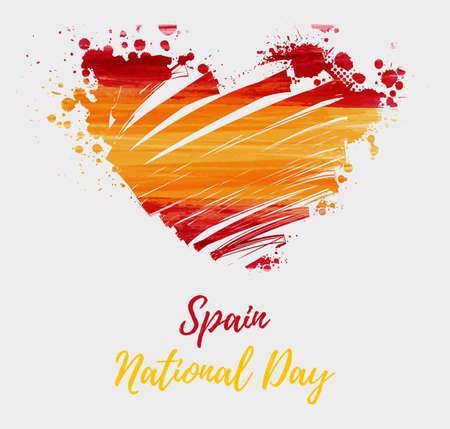 Spain National day background. Abstract brushed watercolor flag of Spain in grunge heart shape. Holiday template background.