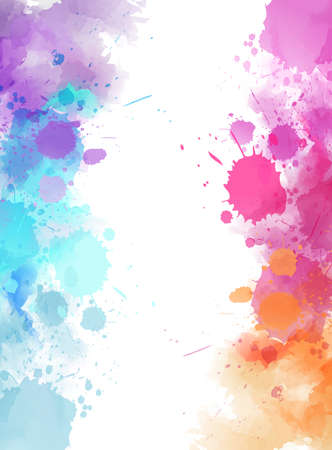 Vertical banner background with colorful watercolor imitation splash blots frame. Template for your designs.