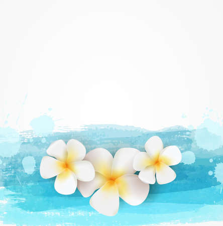 Background template with watercolor imitation lines and three frangipani flowers