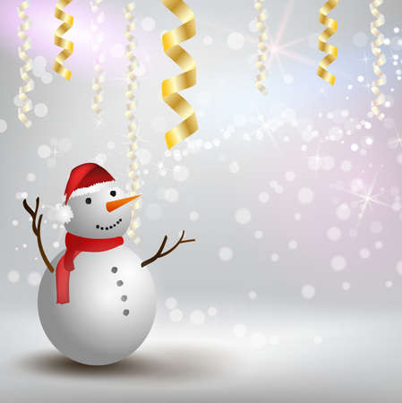 Christmas and New year festive holiday background with snowman with red hat and scarf. Template for holiday background Stock fotó - 127028793