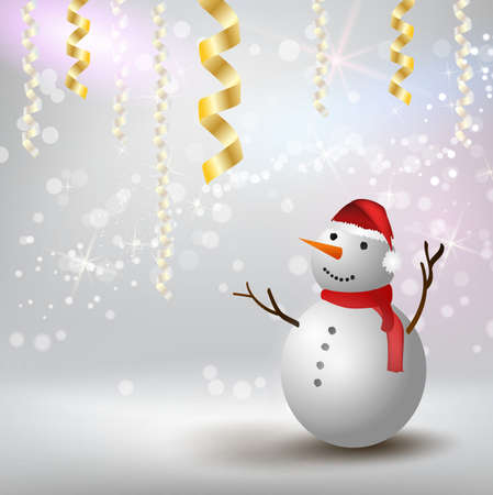 Christmas and New year festive holiday background with snowman with red hat and scarf. Template for holiday background Stock fotó - 127028794