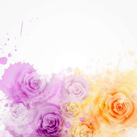 Abstract background with watercolor colorful splashes and rose flowers. Purple and orange colored. Template for your designs, such as wedding invitstion, greeting card, posters, etc.