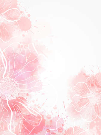 Abstract modern background with abstract florals on watercolor splashes. Light pink colored Stock fotó - 127028796