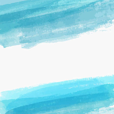 Background template with brushed watercolor imitation lines. Blue colored.