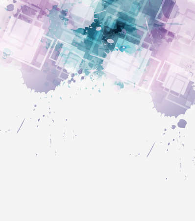 Modern abstract watercolor splashes background with square elements. Purple and blue colored. Template for your designs. Illusztráció