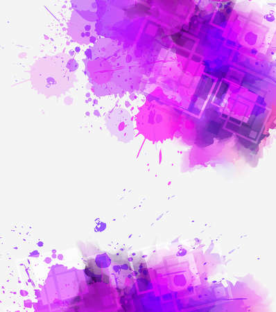 Modern abstract watercolor splashes background with square elements. Purple colored. Template for your designs. Stock fotó - 127028799