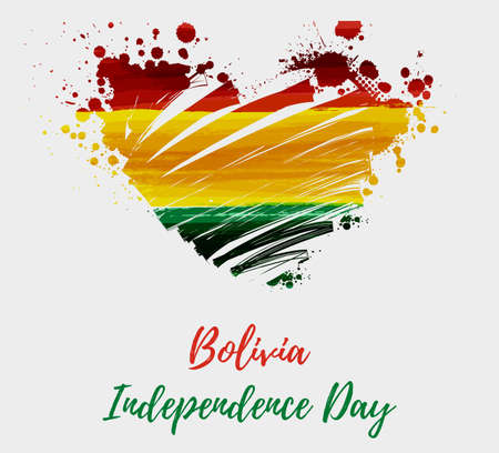 Bolivia Independence day. Abstract brushed grunge flag of Bolivia in heart shape. Template for holiday banner, poster, invitation, etc.