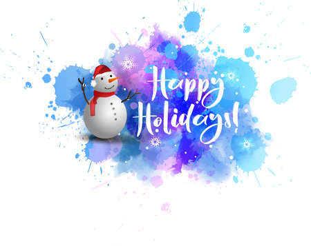 Watercolor blue blot with smiling snowman. Winter season illustration. Happy Holidays! - calligraphy text.