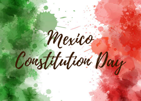 Mexico Constitution Day. Background with watercolored grunge design. Constitution day holiday concept background. Abstract watercolor splashes in Mexico flag colors