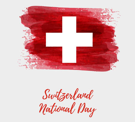 Switzerland National day background. Abstract brushed watercolor flag of Switzerland in grunge shape. Holiday template background.