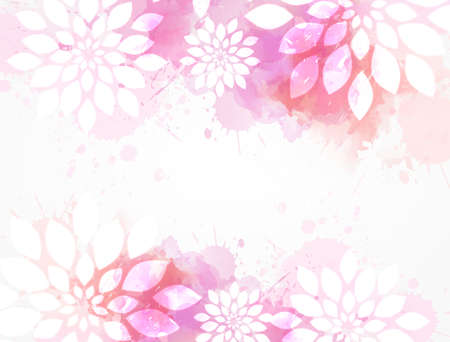 Abstract background with watercolor colorful splashes and flowers. Pink colored. Template for your designs, such as wedding invitation, greeting card, posters, etc.