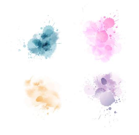 여러 가지 빛깔된 수채화 물감 페인트 얼룩 밝아진 세트