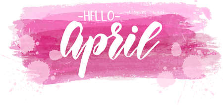Hello April - handwritten modern calligraphy lettering text on pink brushed lines background. Spring concept.