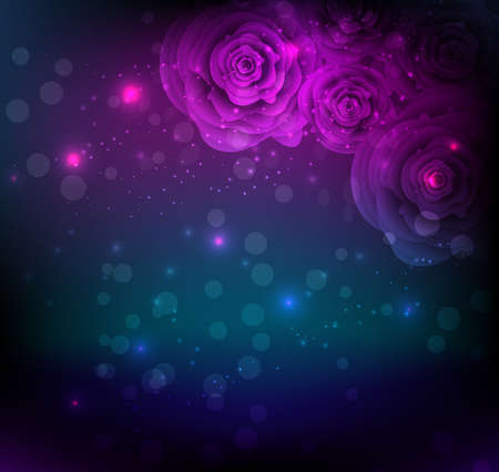 Dark background with abstract glowing roses